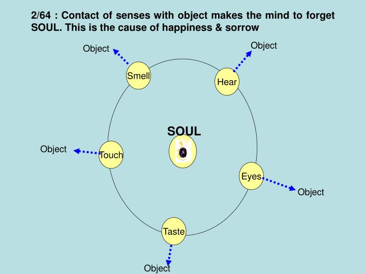2/64 : Contact of senses with object makes the mind to forget SOUL. This is the cause of happiness & sorrow