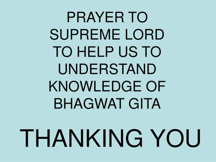 PRAYER TO