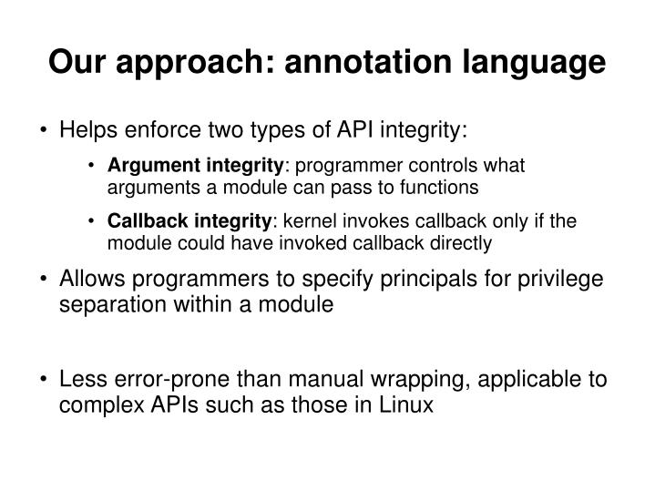 Our approach: annotation language