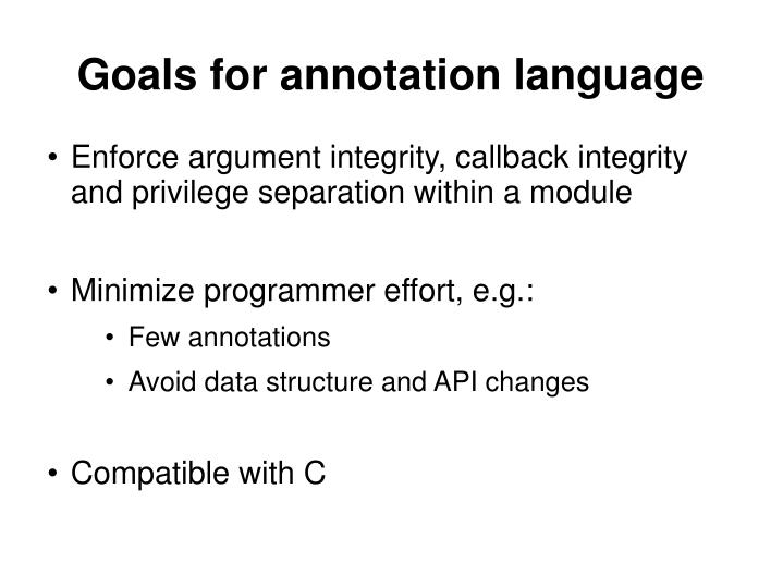 Goals for annotation language