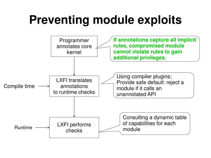 Preventing module exploits