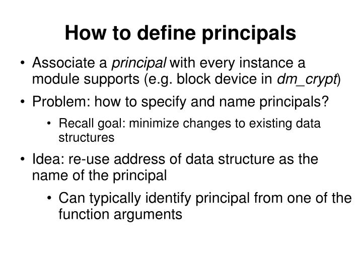 How to define principals