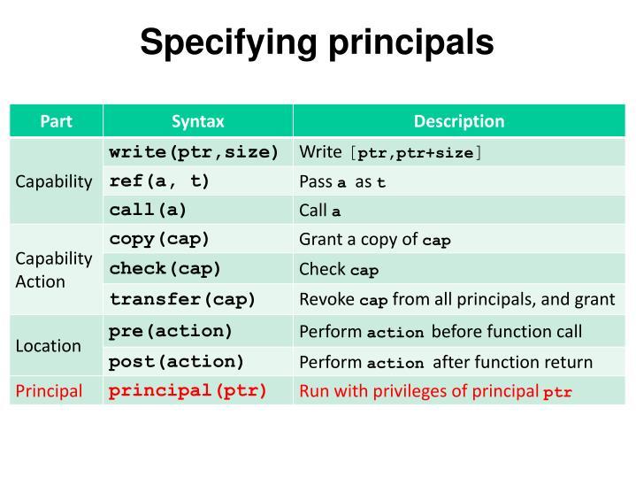 Specifying principals