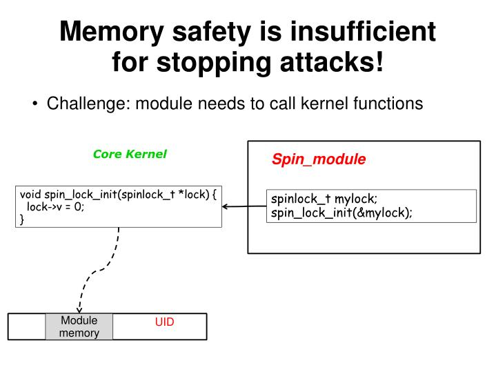 Memory safety is insufficient