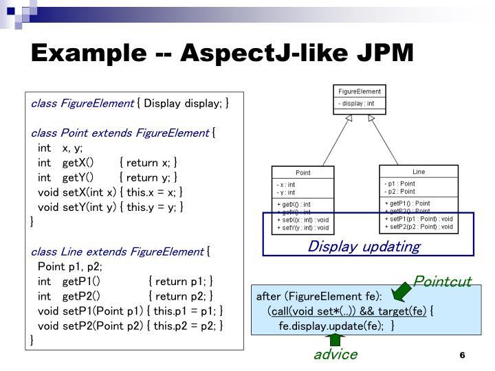 Example -- AspectJ-like JPM