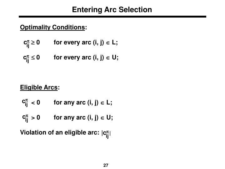 Entering Arc Selection