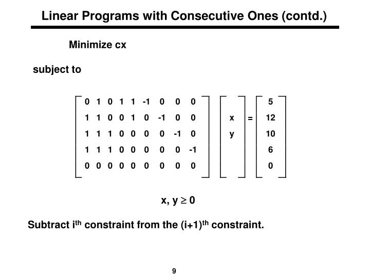 Linear Programs with Consecutive Ones (contd.)
