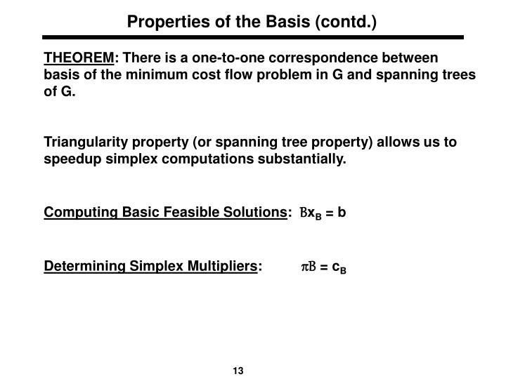 Properties of the Basis (contd.)