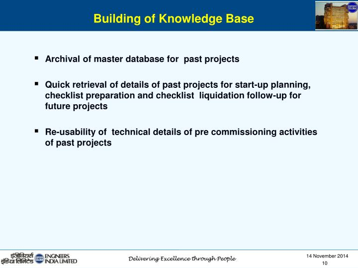 Archival of master database for  past projects