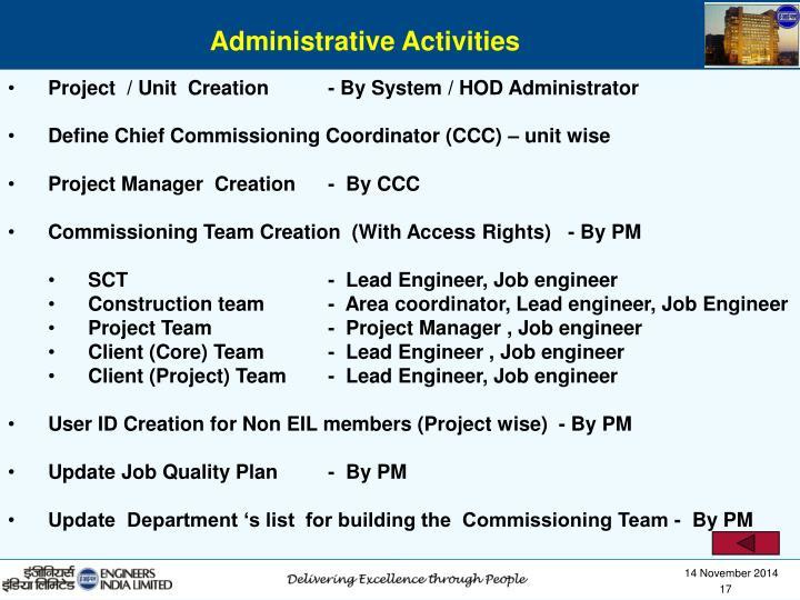 Administrative Activities