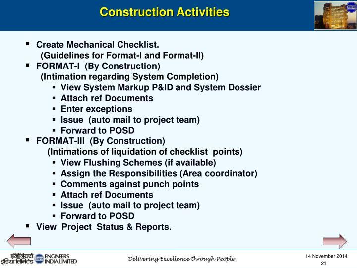 Create Mechanical Checklist.