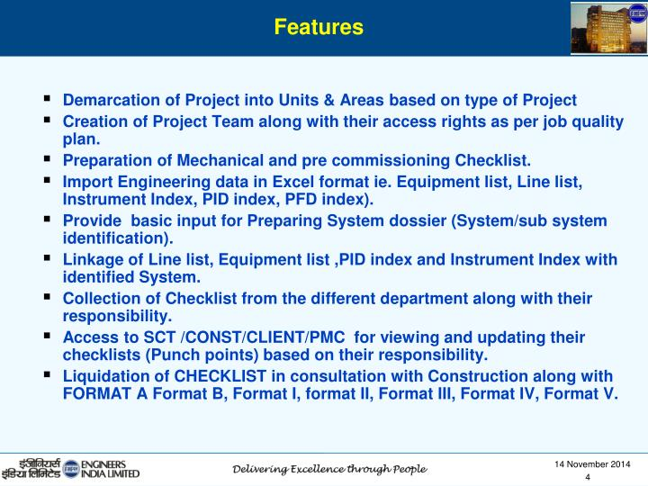 Demarcation of Project into Units & Areas based on type of Project