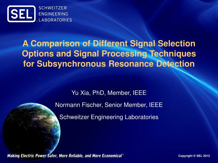 A Comparison of Different Signal Selection Options and Signal Processing Techniques for Subsynchronous Resonance Detection