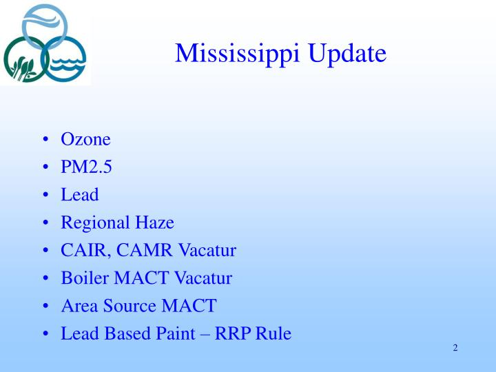 Mississippi update