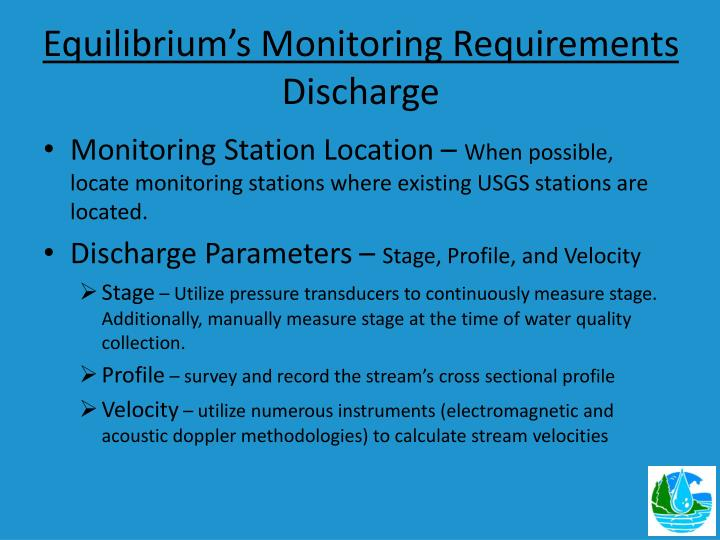 Equilibrium's Monitoring Requirements