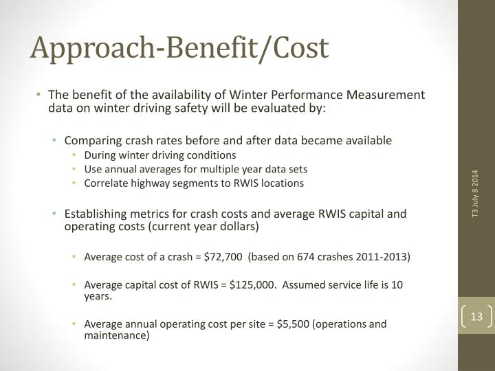 Approach-Benefit/Cost