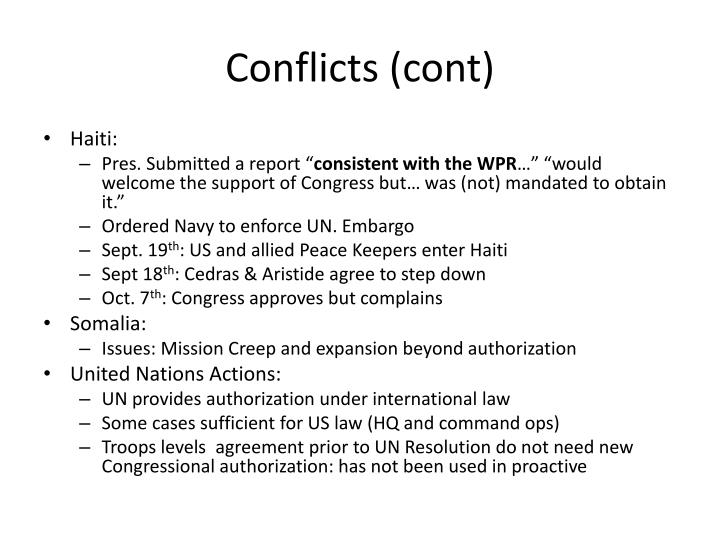 Conflicts (cont)