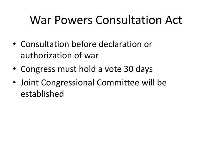 War Powers Consultation Act