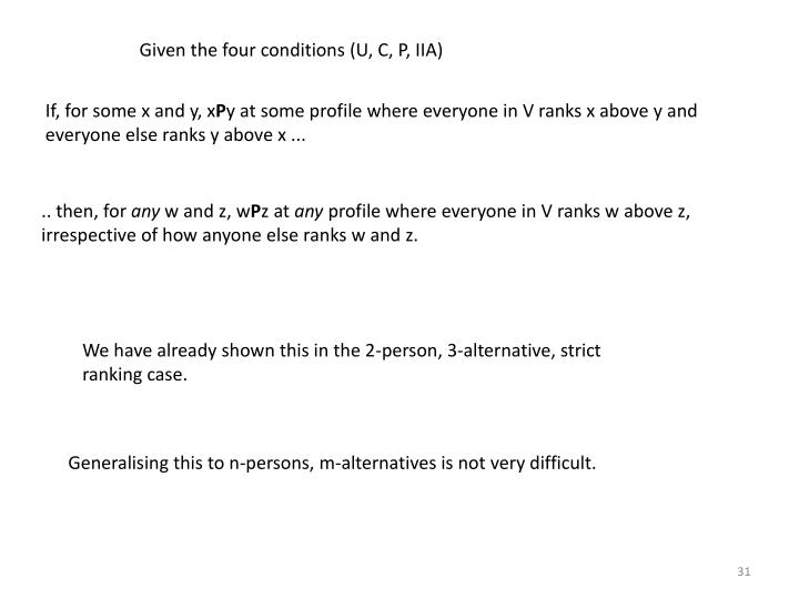 Given the four conditions (U, C, P, IIA)