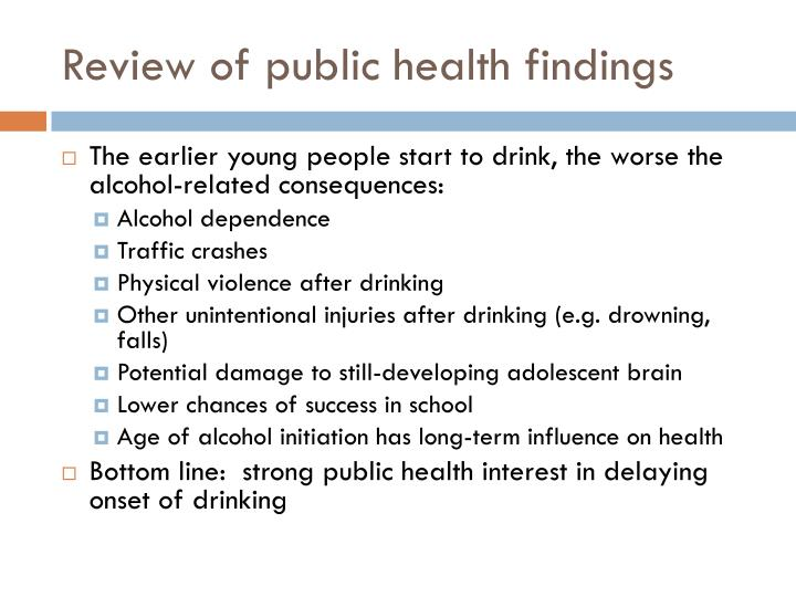 Review of public health findings