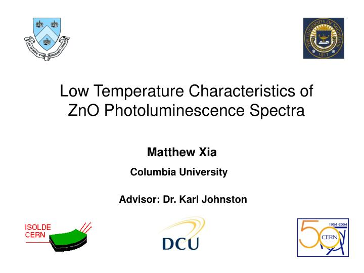 Low Temperature Characteristics of ZnO Photoluminescence Spectra