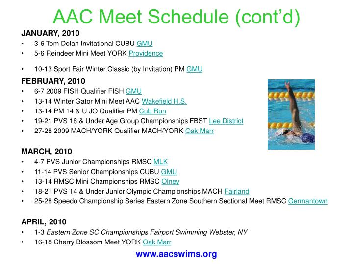 AAC Meet Schedule (cont'd)