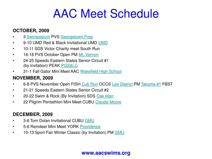 AAC Meet Schedule