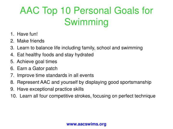 AAC Top 10 Personal Goals for Swimming