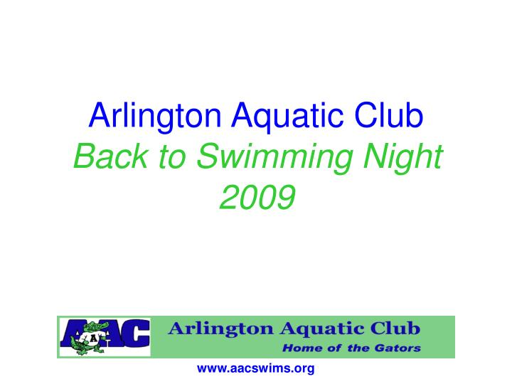Arlington aquatic club back to swimming night 2009