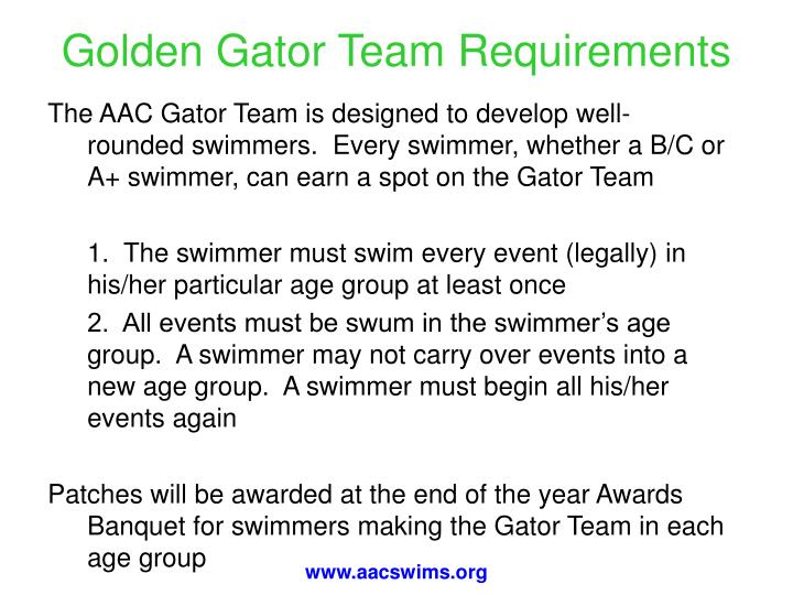 Golden Gator Team Requirements