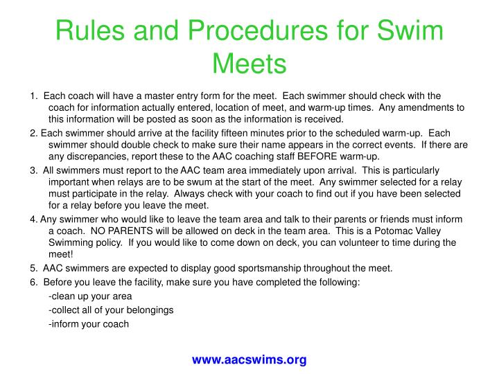 Rules and Procedures for Swim Meets