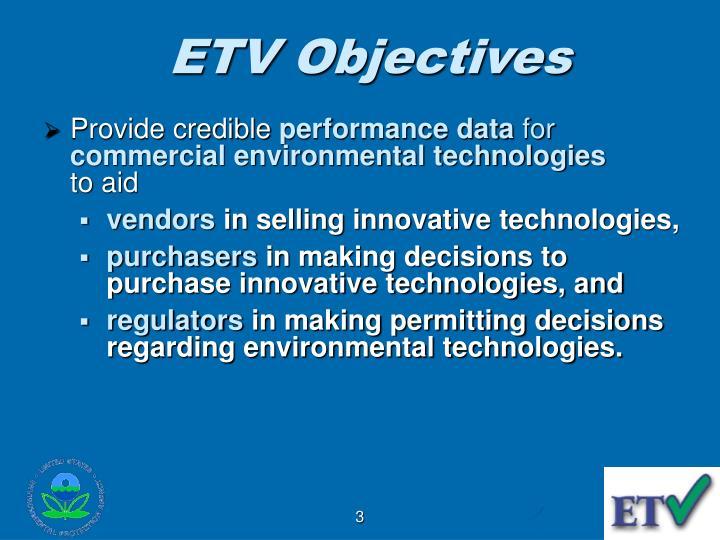 ETV Objectives