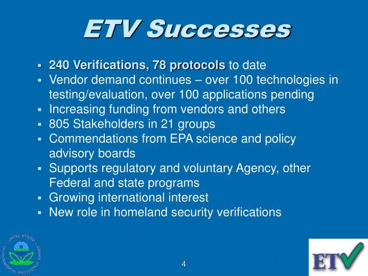 ETV Successes