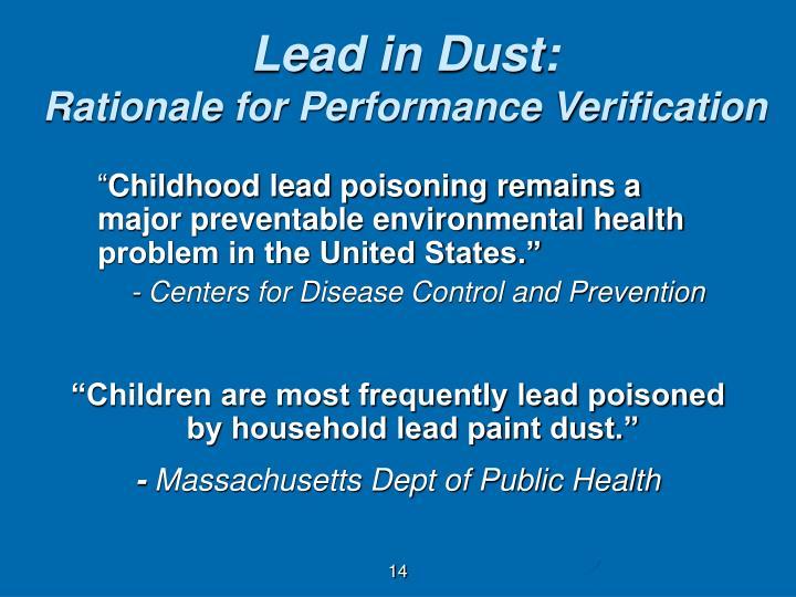 Lead in Dust: