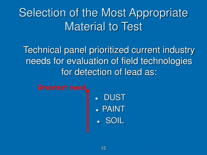 Selection of the Most Appropriate Material to Test