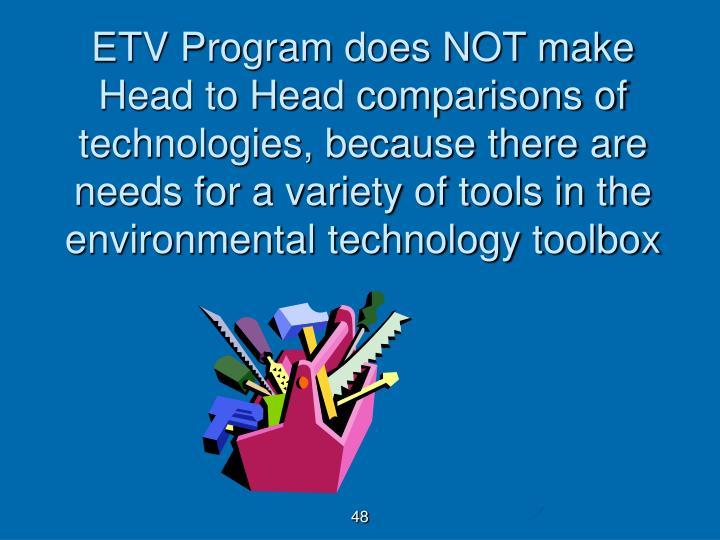 ETV Program does NOT make