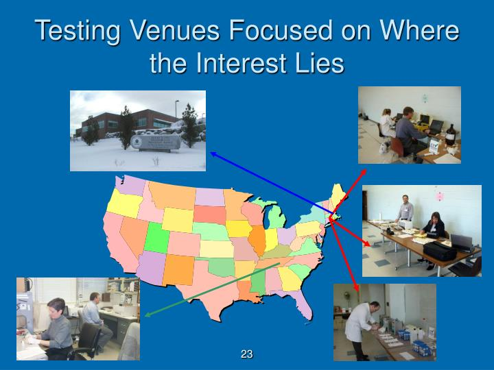 Testing Venues Focused on Where the Interest Lies