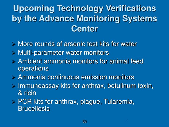 Upcoming Technology Verifications by the Advance Monitoring Systems Center