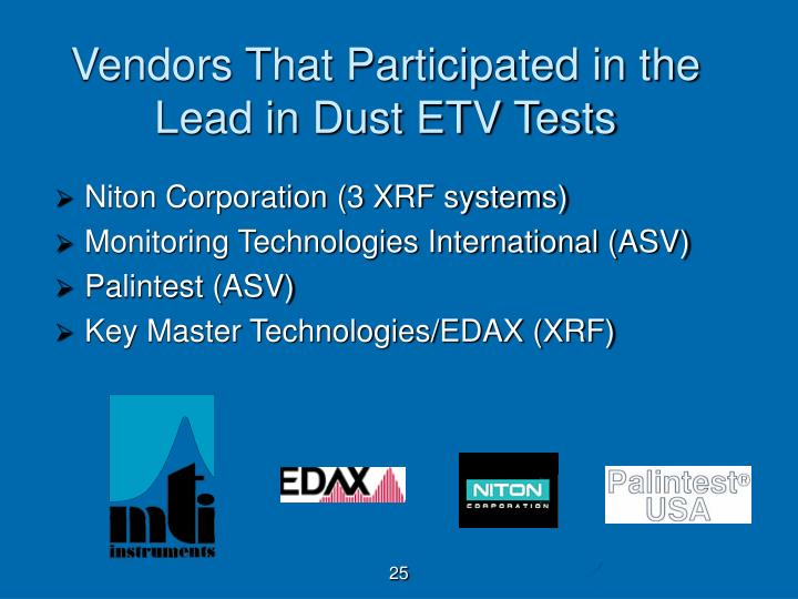 Vendors That Participated in the Lead in Dust ETV Tests