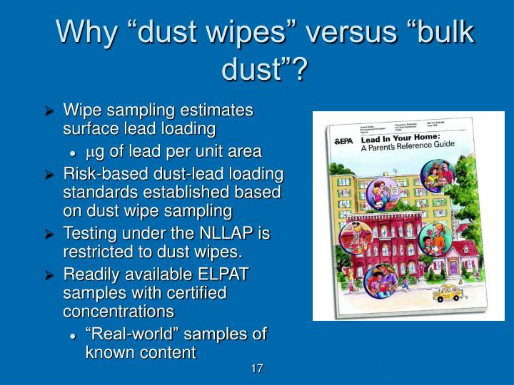 """Why """"dust wipes"""" versus """"bulk dust""""?"""