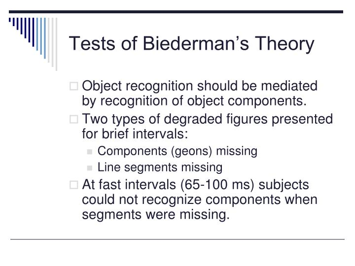 Tests of Biederman's Theory