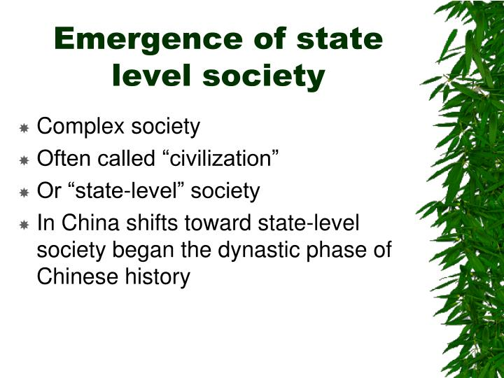 Emergence of state level society