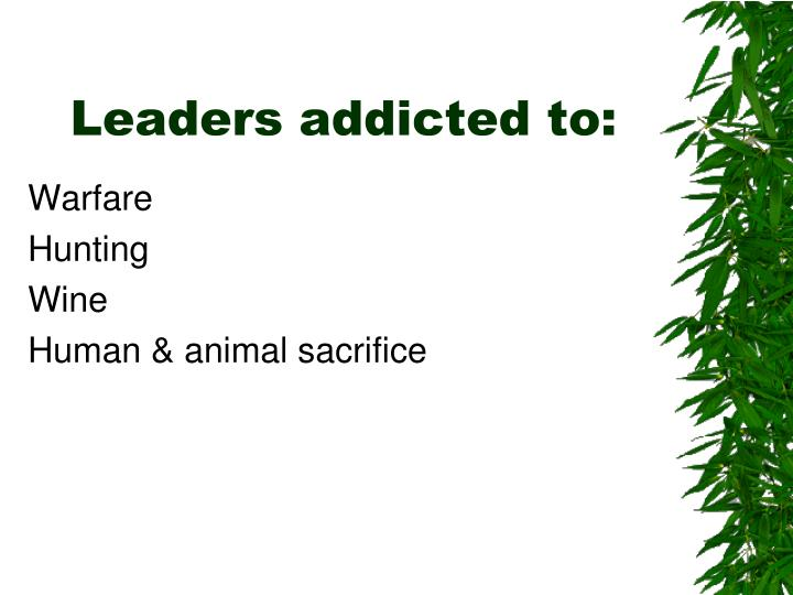Leaders addicted to: