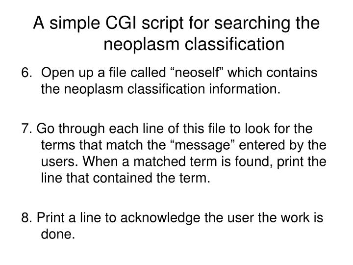 A simple CGI script for searching the 	neoplasm classification