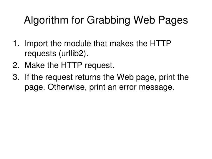 Algorithm for Grabbing Web Pages
