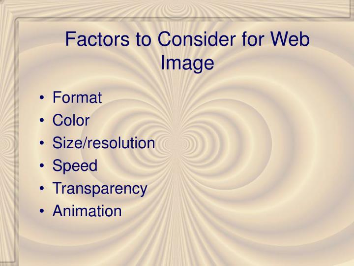 Factors to consider for web image