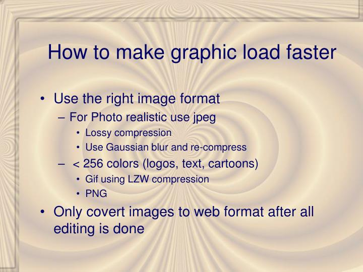 How to make graphic load faster