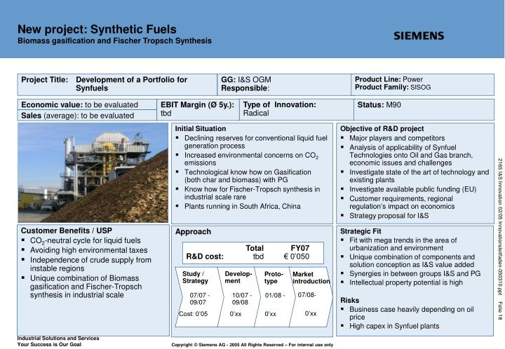 New project: Synthetic Fuels