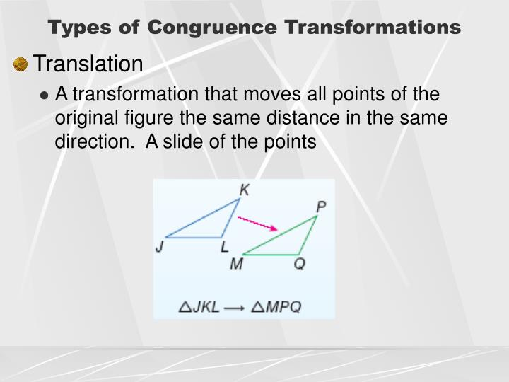 Types of Congruence Transformations