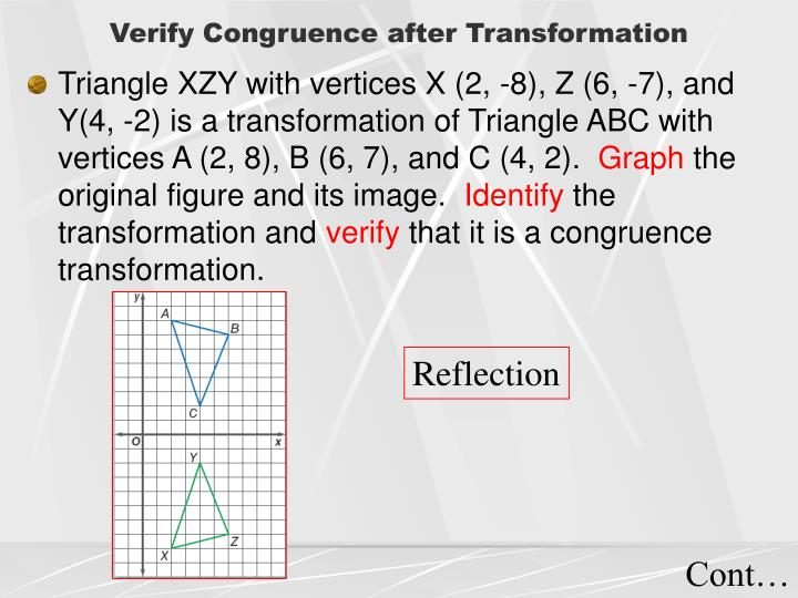 Verify Congruence after Transformation